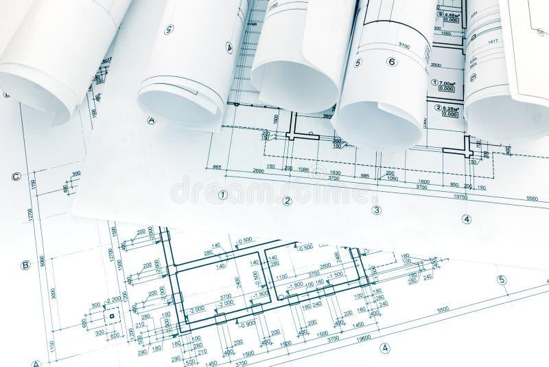 Технические чертежи архитектурноакустических и с кренами светокопий стоковые изображения