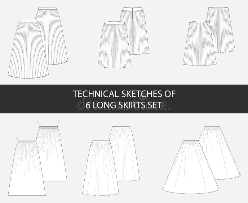 Технические эскизы 6 длинных юбок установили в вектор иллюстрация вектора
