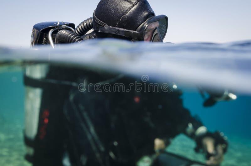 Технический водолаз акваланга стоковые фото