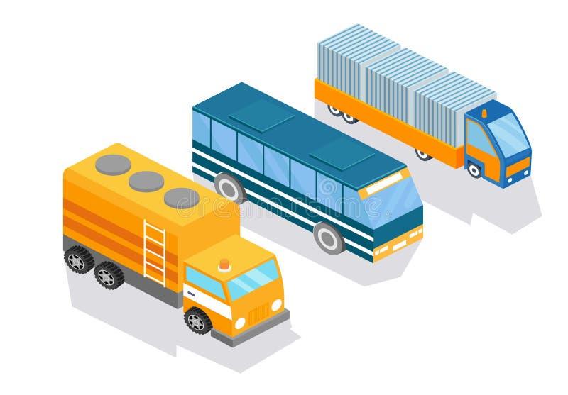 Технический городской транспорт, аварийная машина, туристический автобус, тележка для доставки иллюстрация вектора