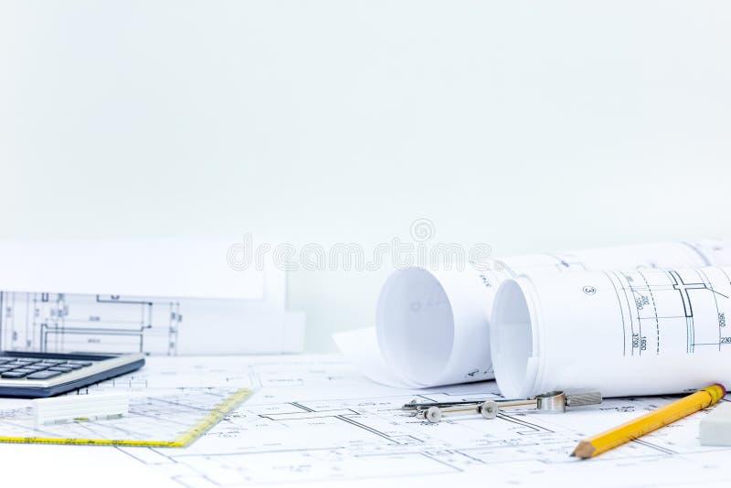 Технический план проекта, светокопия свертывает, рисует, compass, calcul стоковое изображение