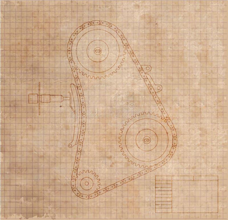 Технический чертеж механизма автомобиля на старом листе бумаги иллюстрация иллюстрация штока