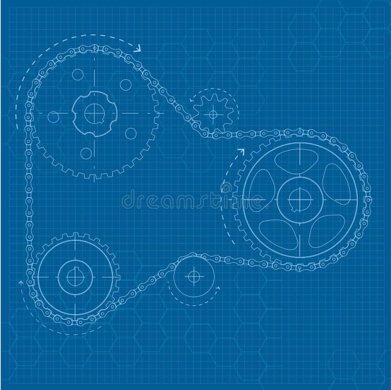 Технический чертеж на голубой предпосылке бесплатная иллюстрация