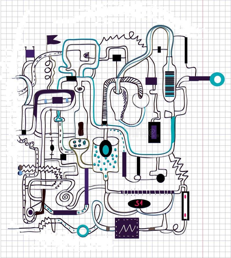 Технический чертеж doodle - предпосылка иллюстрация вектора