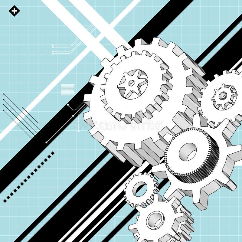 техническое чертежей механически иллюстрация вектора