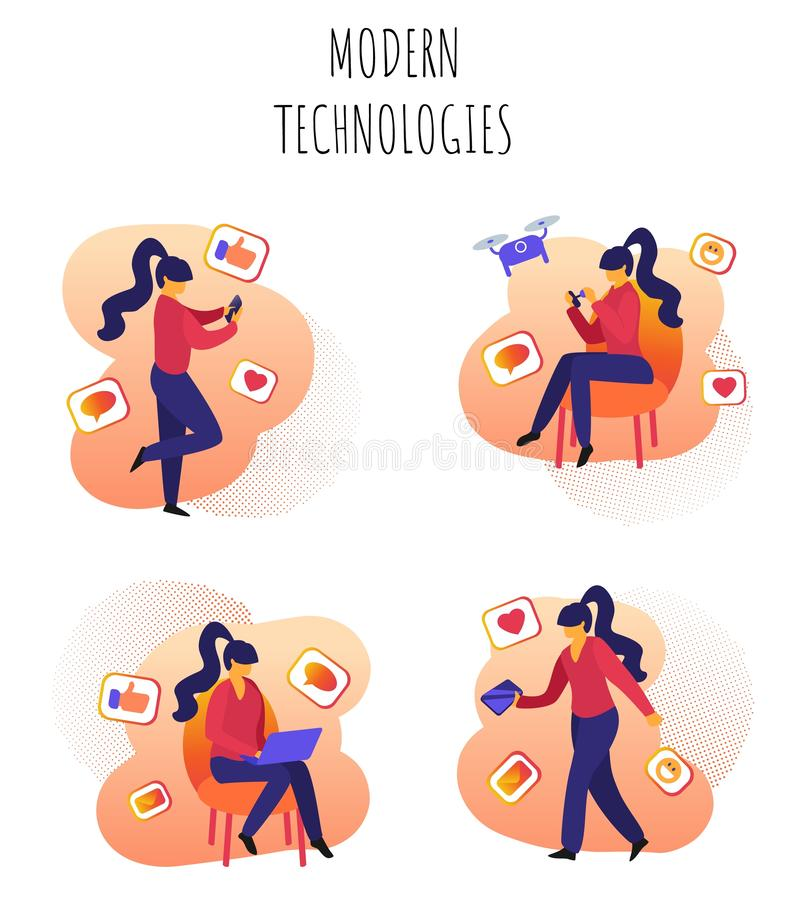 Технологии вектора написанные иллюстрацией современные иллюстрация вектора