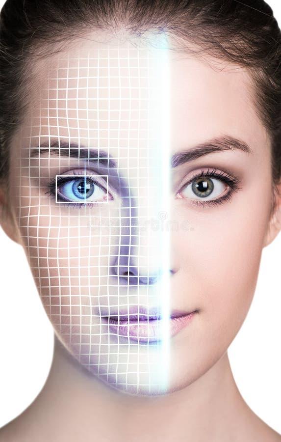 Технологическая скеннирование стороны молодой женщины стоковые изображения
