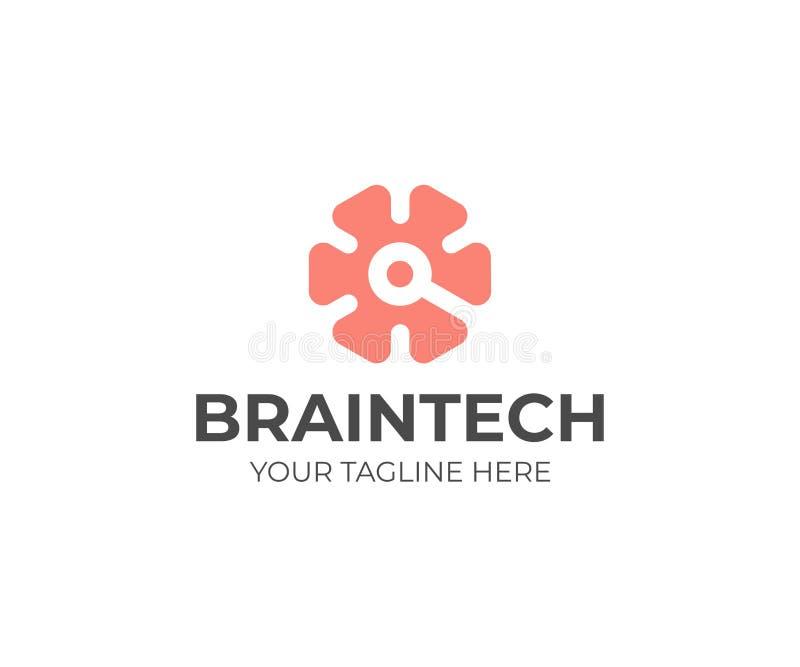 Технологический шаблон логотипа мозга Дизайн вектора мозга и цепи иллюстрация вектора