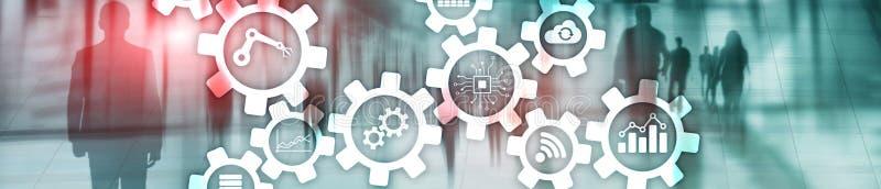 Технология автоматизации и умная концепция индустрии на запачканной абстрактной предпосылке Шестерни и значки Знамя заголовка веб иллюстрация вектора
