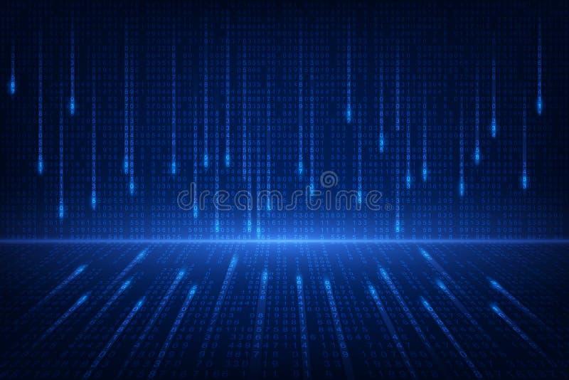 Технология будущего бинарной цепи, голубая предпосылка концепции безопасностью кибер, иллюстрация вектора интернета абстрактной h бесплатная иллюстрация