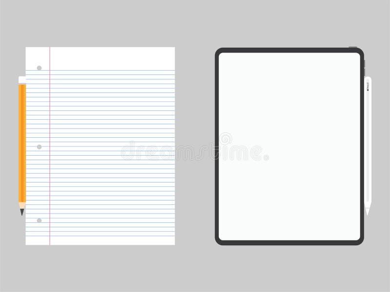 Технология выдвижения дизайна нового сильного планшета pro новая сравнивает с нормальной бумагой иллюстрация штока