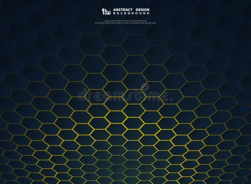 Технология градиента конспекта шестиугольная на желтом дизайне украшения крышки предпосылки иллюстрация штока