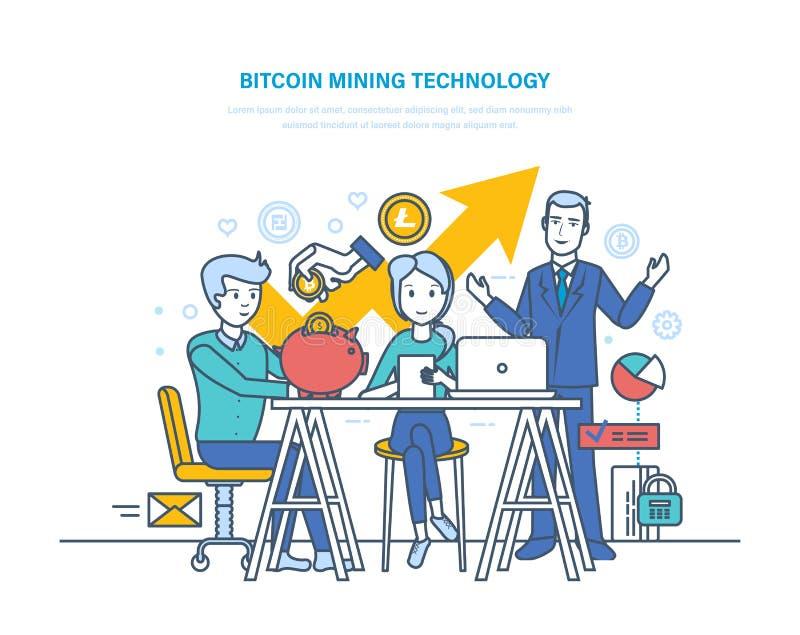 Технология, извлечение и получение Bitcoin минируя bitcoins, финансовых заработков иллюстрация вектора