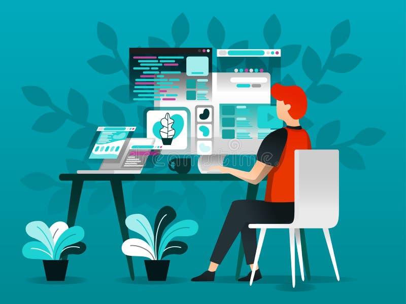 Технология иллюстрации вектора и идея проекта, работник конструируя и программируя на ПК, в плоском стиле мультфильма метафора дл иллюстрация вектора