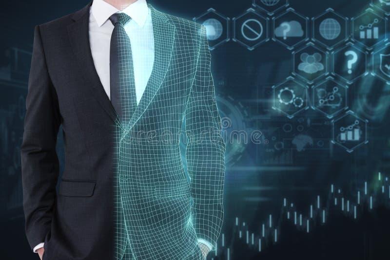 Технология, искусственный интеллект и концепция сети стоковые фотографии rf