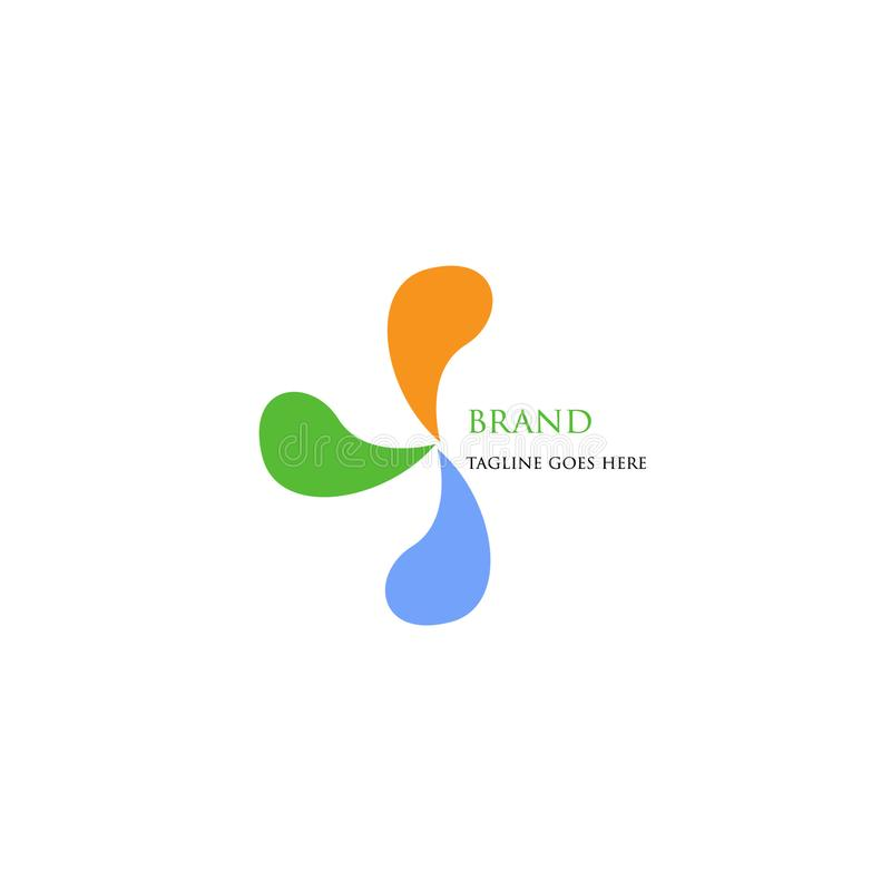 Технология логотипа с 3 простым и привлекательными цветами иллюстрация штока