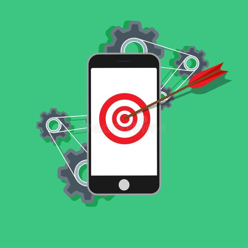 Технология маркетинга дела мобильного телефона онлайн Современная концепция вектора seo анализа Работа социального прибора успеха иллюстрация штока