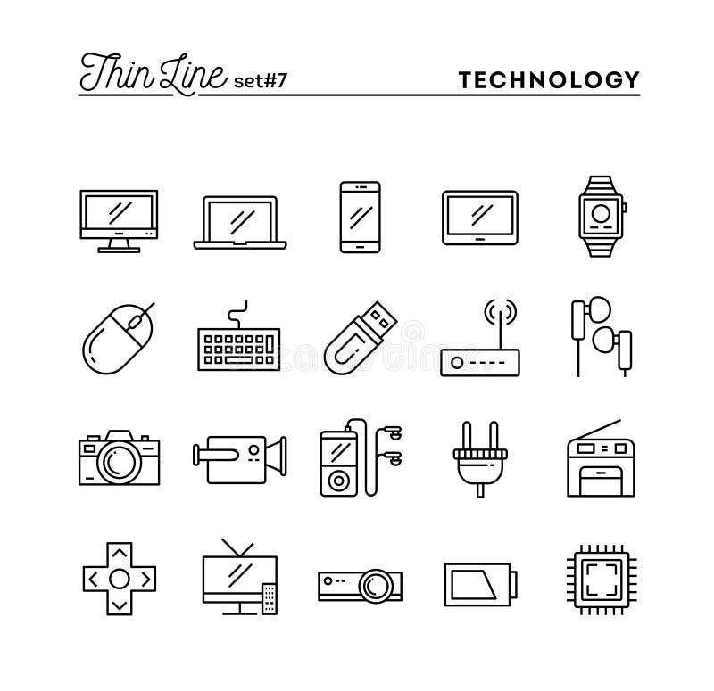 Технология, приборы, устройства и больше, тонкая линия установленные значки иллюстрация штока