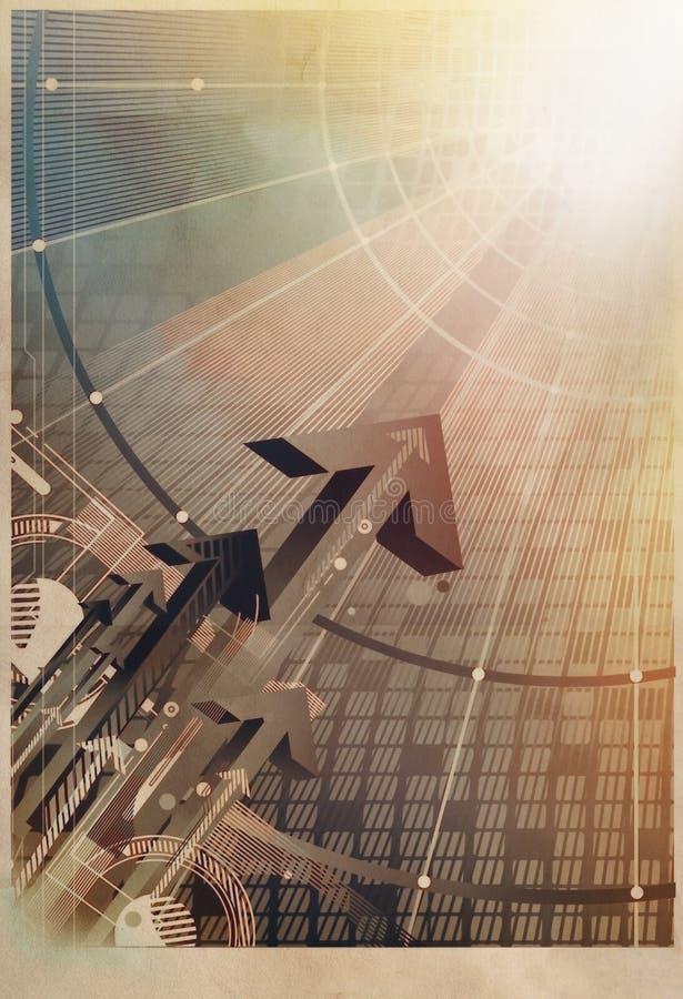 технология принципиальной схемы стрелок поднимая иллюстрация вектора