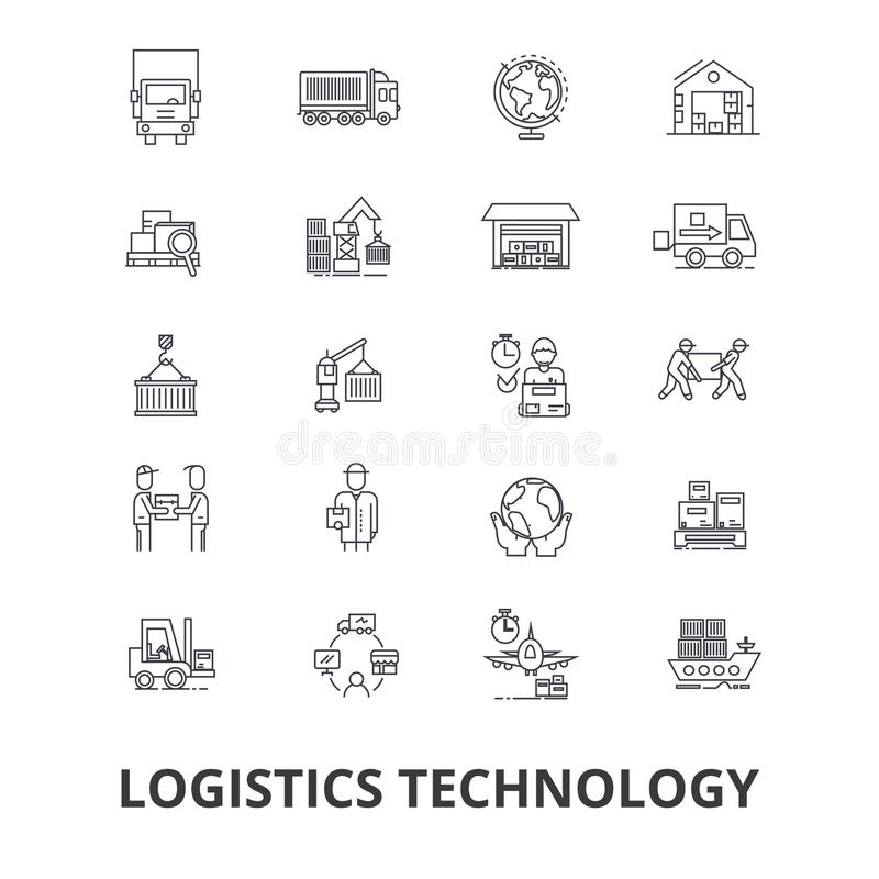 Технология снабжения, переход, схема поставок, средство доставки, склад, линия значки груза Editable ходы плоско иллюстрация штока