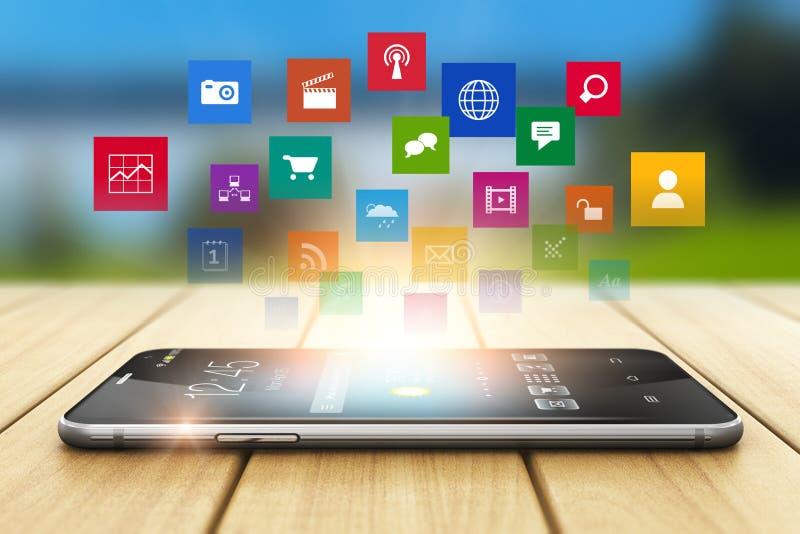 Технология средств массовой информации Smartphone и социальная концепция сети иллюстрация штока