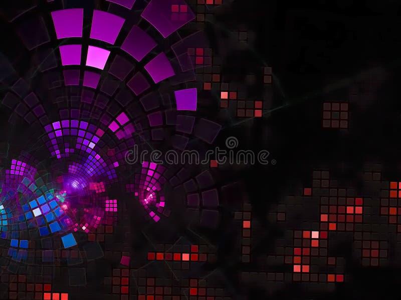 Технология украшения абстрактной цифровой подачи фрактали сияющая представляет цифровой, диско, дело, реклама, стоковое изображение