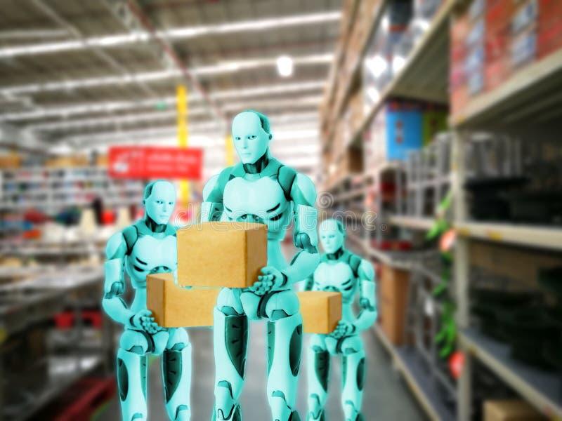 Технология умного робота держит работы коробки вместо людей стоковые изображения