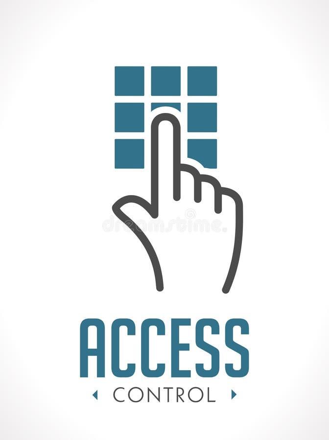 Технология управления доступом - рука как ключевое понятие - знак значка иллюстрация штока