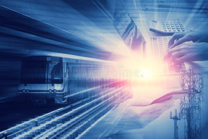 Технология цифрового века высокоскоростная современная сообщения иллюстрация вектора