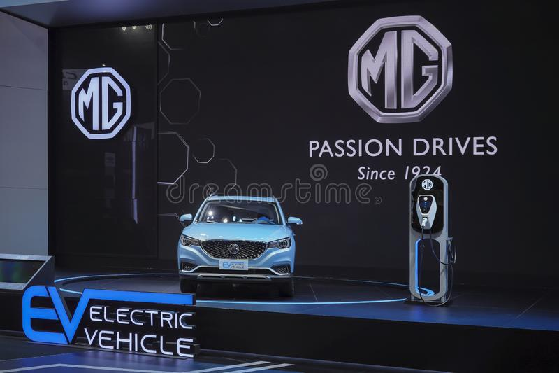 Технология электротранспорта MG EV вставляемая гибридная для окружающей среды на дисплее в 40th мотор-шоу 2019 Бангкока междунаро стоковые изображения