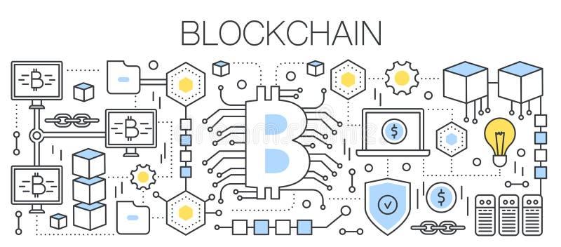 Технология Bitcoin, cryptocurrency и blockchain Знак Bitcoin соединенный к глобальной вычислительной сети плоская линия вектор иллюстрация вектора