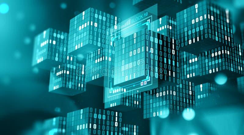 Технология Blockchain Блоки информации в цифровом космосе Децентрализованная глобальная вычислительная сеть Защита данных виртуал стоковая фотография