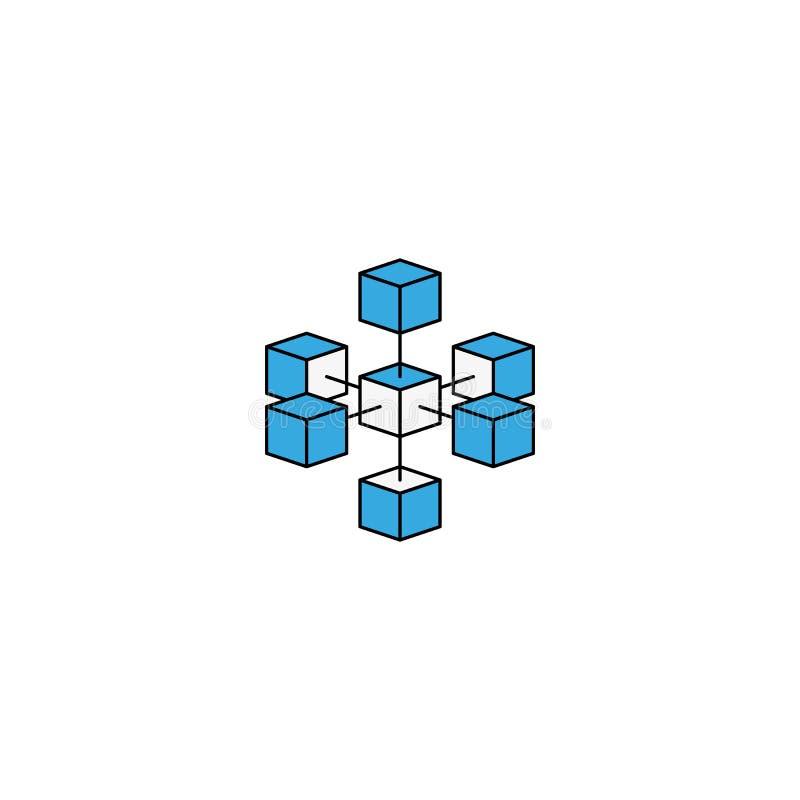 Технология blockchain логотипа соединила равновеликие геометрические кубы блоки формируют линию значок Дизайн значка данным по Cr бесплатная иллюстрация