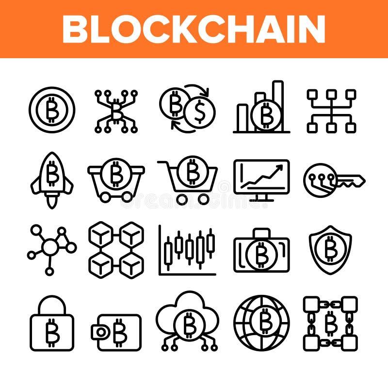 Технология Blockchain, набор значков вектора Cryptocurrency линейный бесплатная иллюстрация