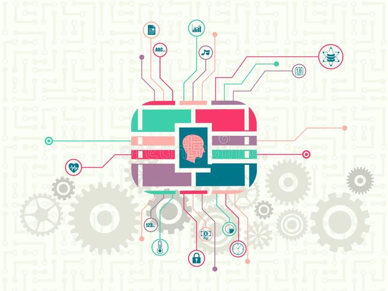 Технология данных и концепция машинного обучения иллюстрация вектора