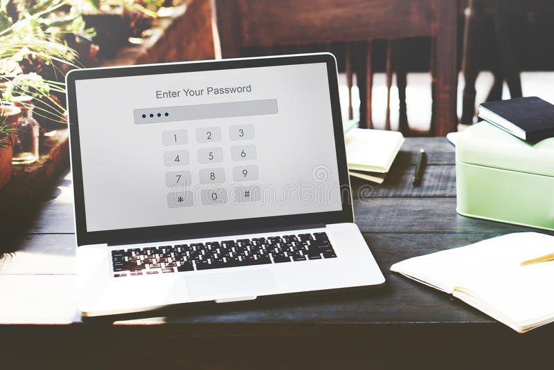 Технология вписывает концепцию графика безопасностью пароля стоковое изображение