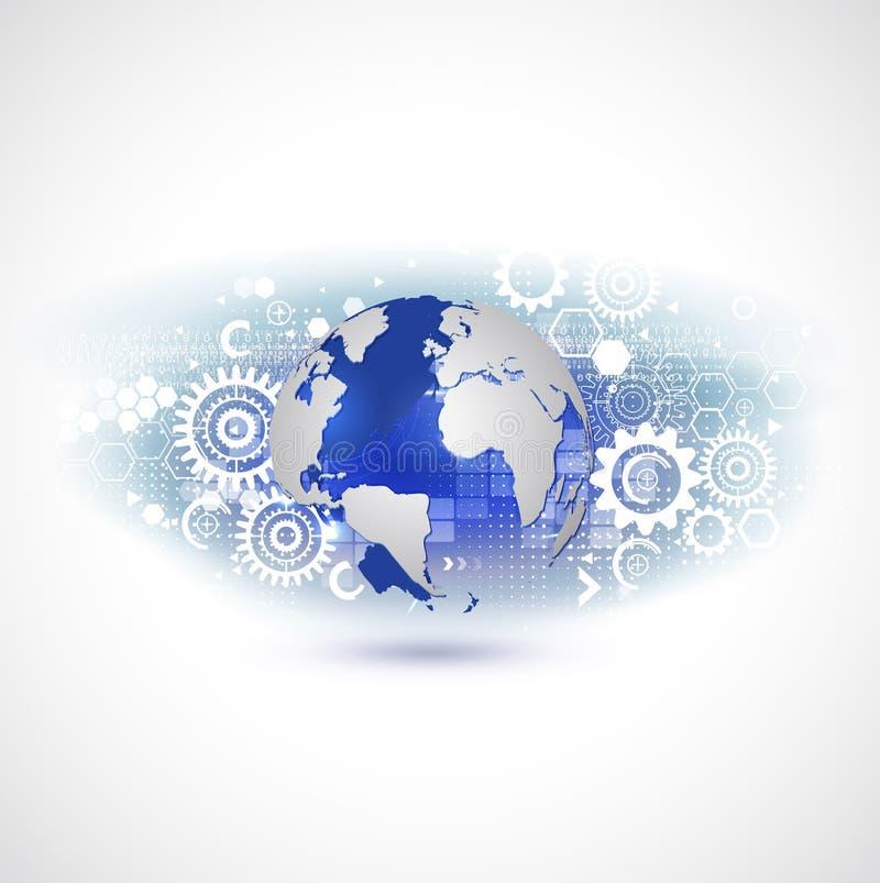 Технология и связь мира с концепцией предпосылки шестерней, вектором иллюстрация штока