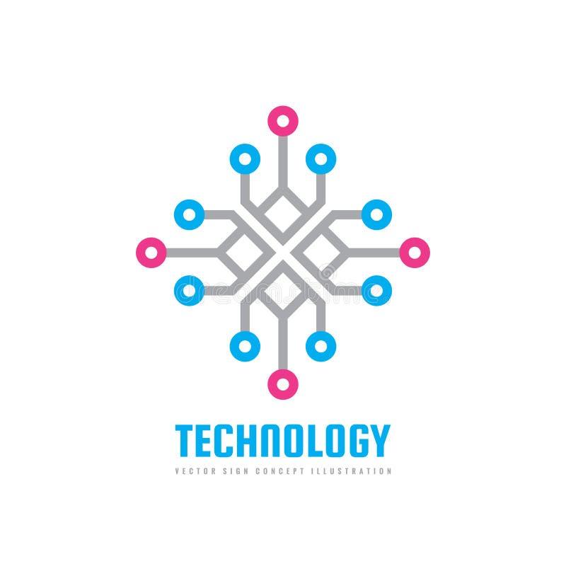 Технология - иллюстрация концепции шаблона логотипа вектора Знак вычислительной цепи творческий Электронный цифровой символ облом иллюстрация штока