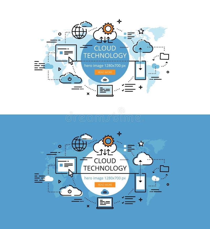 Технология облака Плоская линия изображения героя цвета и знамена d героя иллюстрация вектора