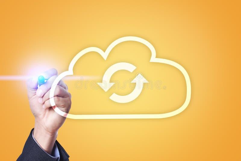 Технология облака Хранение данных Концепция сети и интернет-обслуживания иллюстрация штока