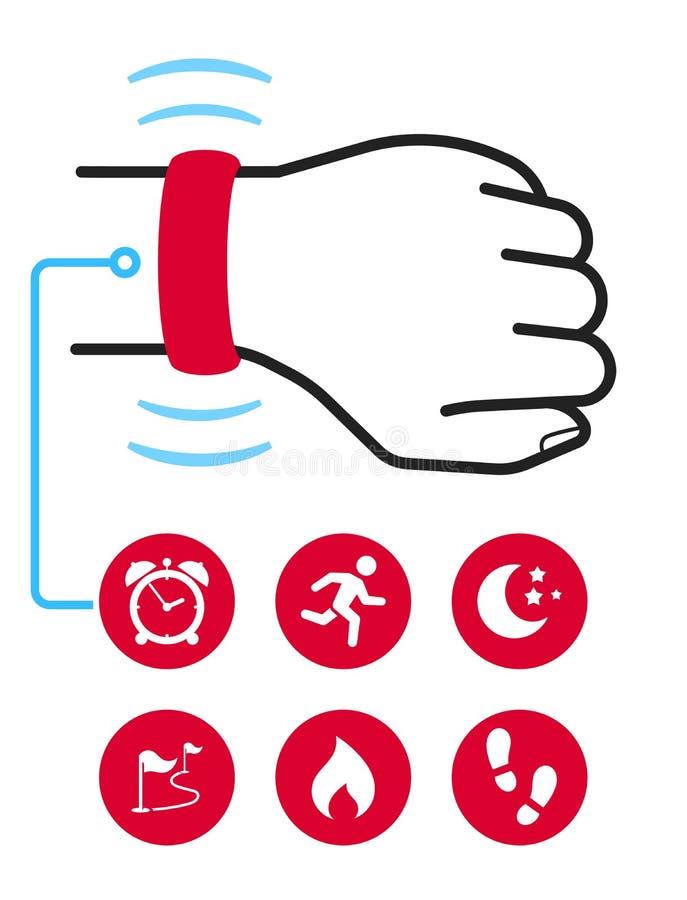 Технология отслежывателя фитнеса пригодная для носки иллюстрация штока