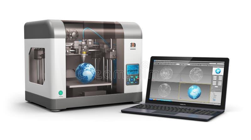 технология печатания 3d иллюстрация вектора