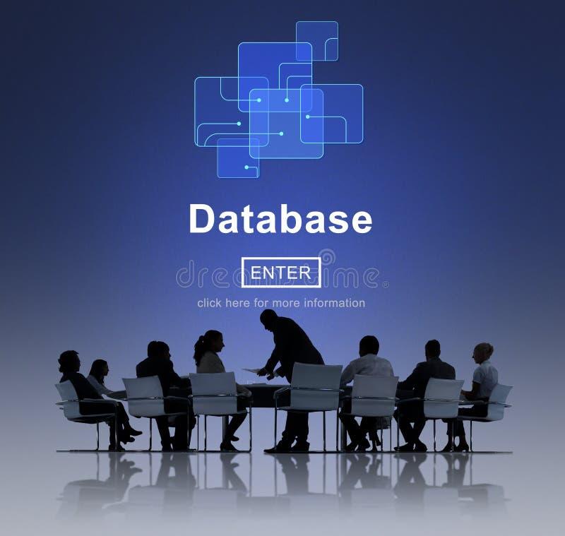 Технология сети базы данных вписывает концепцию стоковая фотография