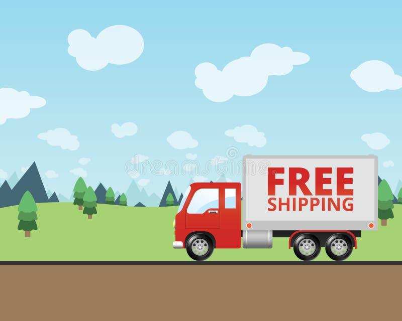 Тележка бесплатной доставки поставляя почту иллюстрация штока