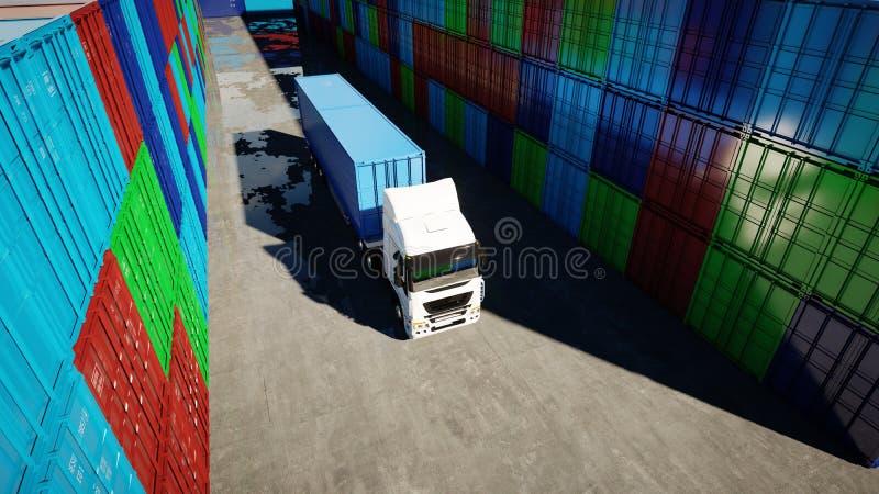 Тележка в депо контейнера, складе, морском порте представленное изображение грузовых контейнеров 3d Концепция логистических и дел иллюстрация вектора