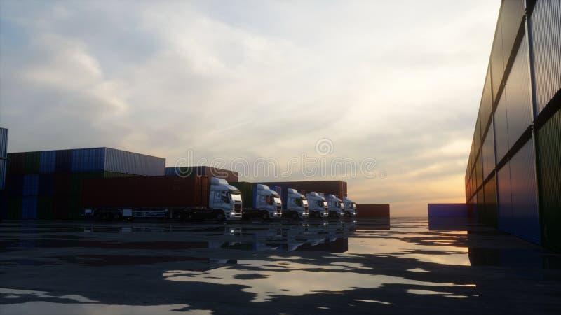 Тележка в депо контейнера, складе, морском порте представленное изображение грузовых контейнеров 3d Концепция логистических и дел бесплатная иллюстрация