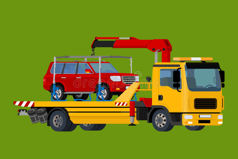 Тележка отбуксировки автомобиля, вакуумизатор онлайн, помощь обочины, дело и концепция обслуживания, плоский вектор 3d равновелик иллюстрация вектора