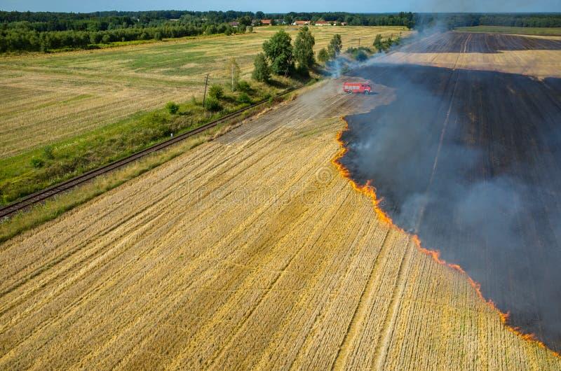 Тележка пожарного работая на поле на огне стоковые изображения rf