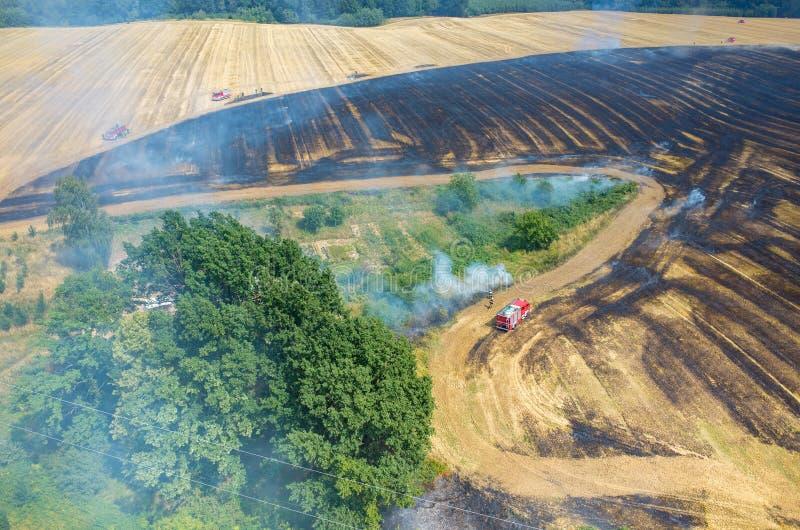 Тележка пожарного работая на поле на огне стоковые изображения