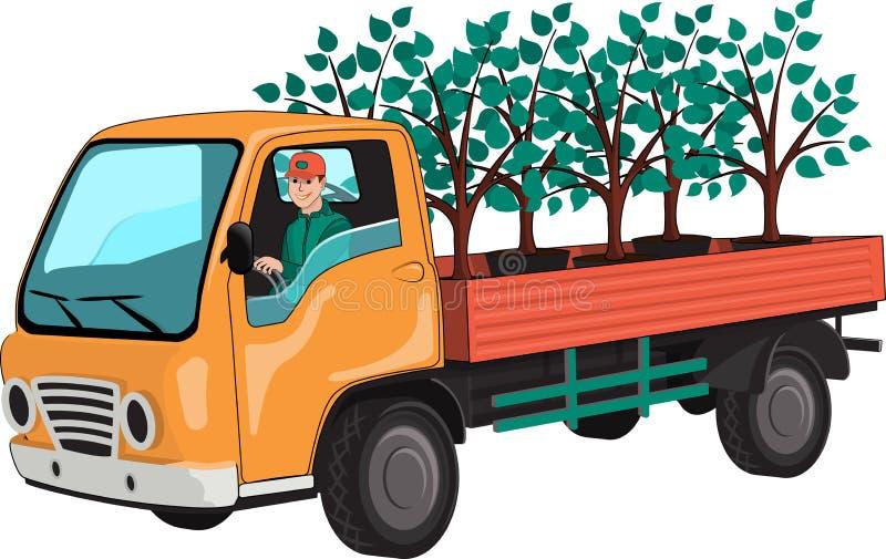 Тележка с саженцами дерева иллюстрация штока
